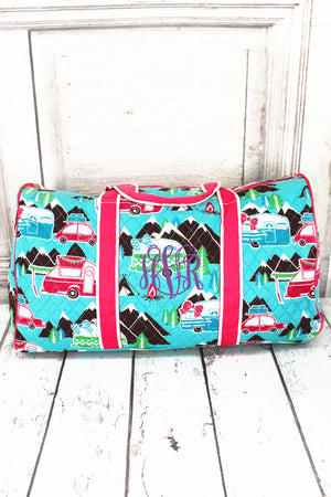 Happy Camper Quilted Duffle Bag with Hot Pink Trim 21""