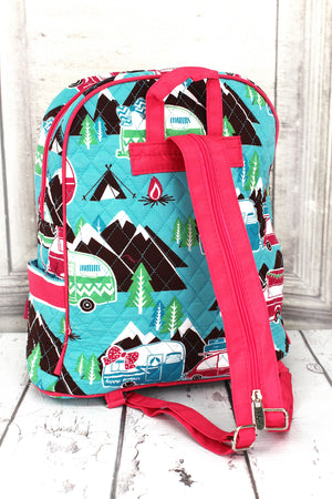 Happy Camper Quilted Backpack with Hot Pink Trim