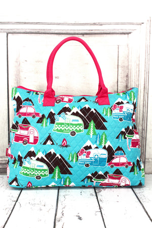 Happy Camper Quilted Large Shoulder Tote with Hot Pink Trim