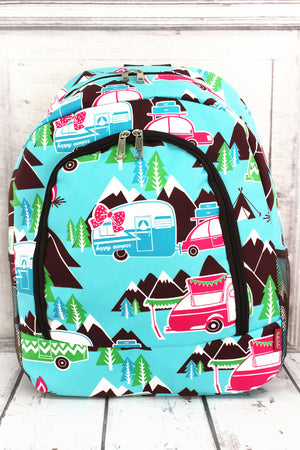 Happy Camper Large Backpack with Brown Trim