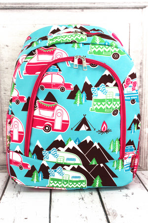 Happy Camper Large Backpack with Hot Pink Trim
