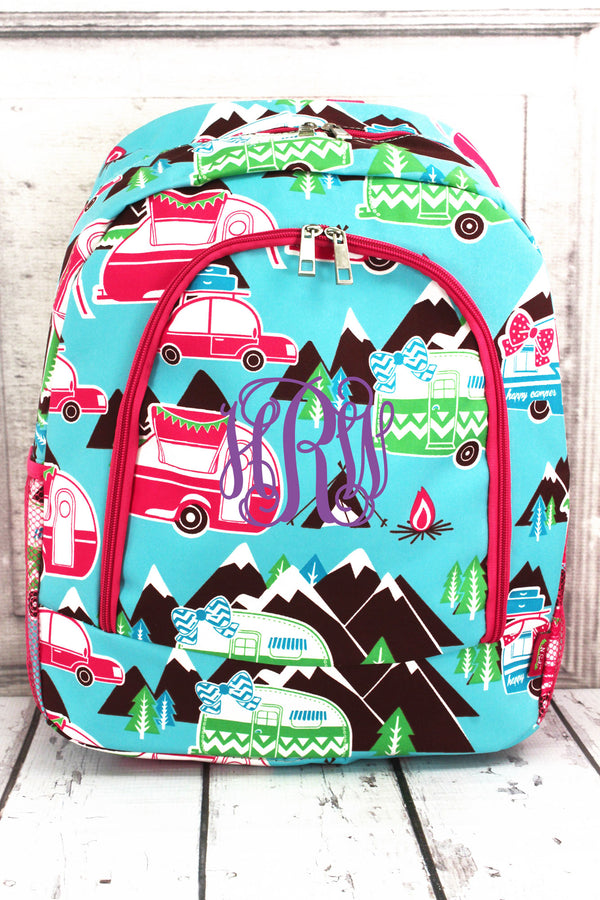 Happy Camper Large Backpack with Hot Pink Trim #CMP403-HPINK