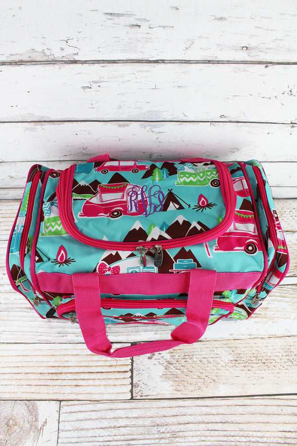 Happy Camper Duffle Bag with Hot Pink Trim 17""