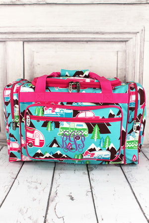 "Happy Camper Duffle Bag with Hot Pink Trim 20"" #CMP420-HPINK"