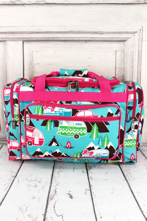 Happy Camper Duffle Bag with Hot Pink Trim 20""