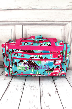 "Happy Camper Duffle Bag with Hot Pink Trim 23"" #CMP423-HPINK"