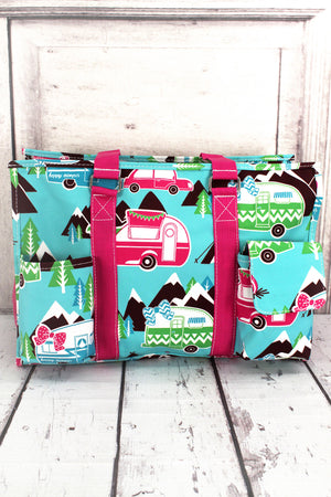 Happy Camper Utility Tote with Hot Pink Trim