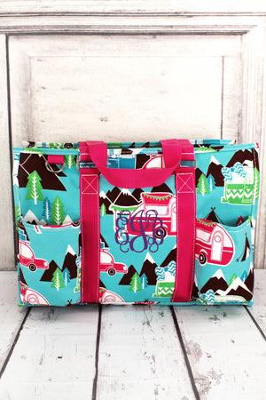 Happy Camper Utility Tote with Hot Pink Trim #CMP731-HPINK