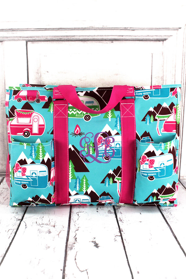 Happy Camper with Hot Pink Trim Large Organizer Tote #CMP733-HPINK