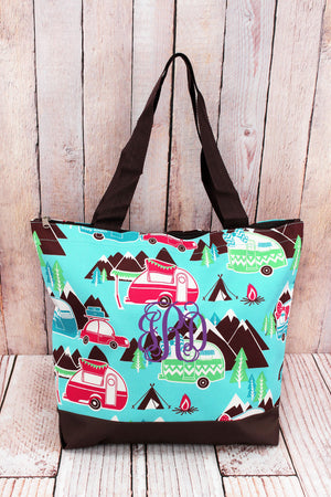 Happy Camper with Brown Trim Tote Bag