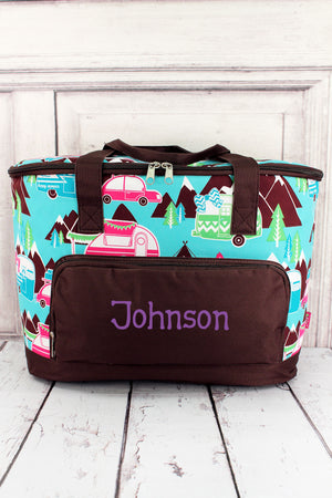 Happy Camper and Brown Cooler Tote with Lid #CMP89-BROWN
