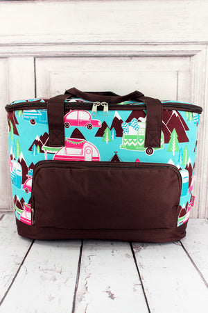 Happy Camper and Brown Cooler Tote with Lid