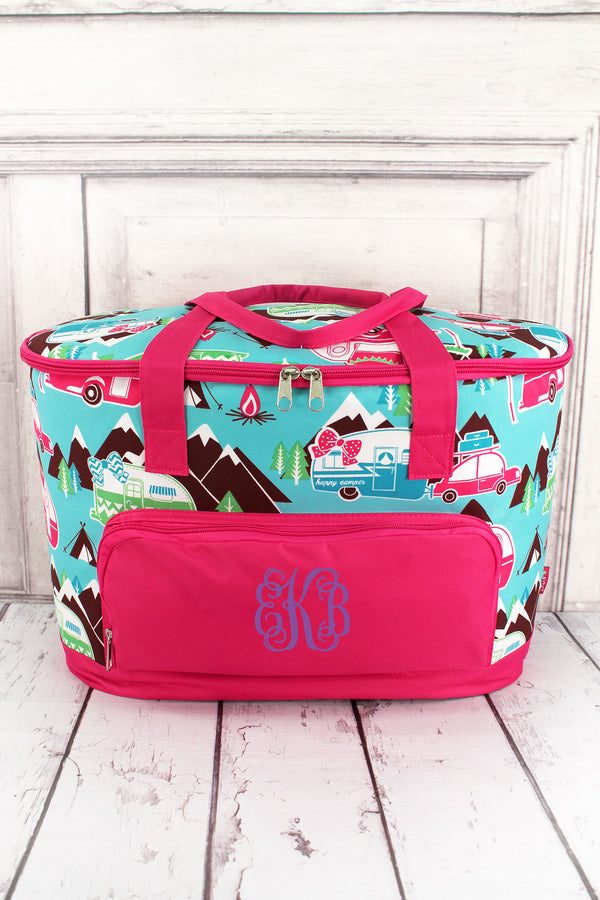 Happy Camper and Hot Pink Cooler Tote with Lid #CMP89-HPINK