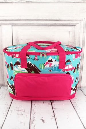 Happy Camper and Hot Pink Cooler Tote with Lid