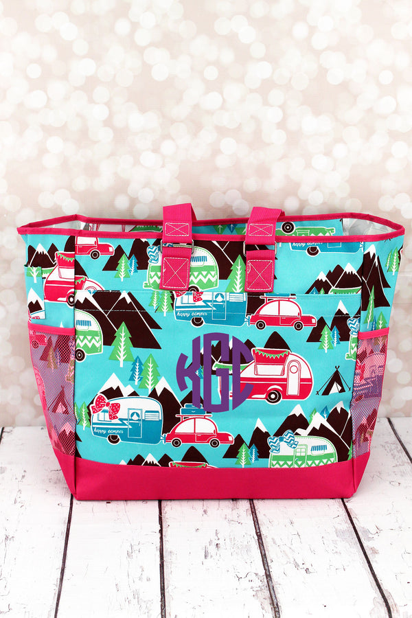 Happy Camper Everyday Organizer Tote with Hot Pink Trim