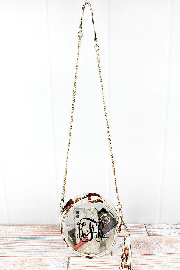 Clear Round Crossbody Bag with Till The Cows Come Home Trim