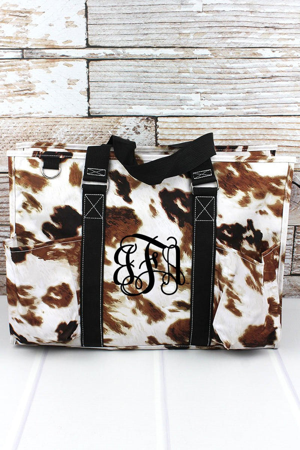 Till The Cows Come Home with Black Trim Large Organizer Tote
