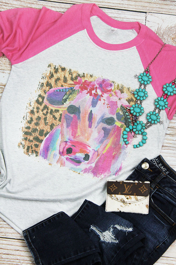 The Colorful Cow Leopard Tri-Blend Unisex 3/4 Raglan