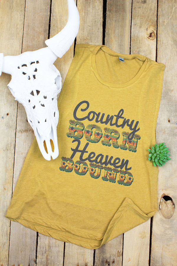Southwestern Country Born Muscle Tank