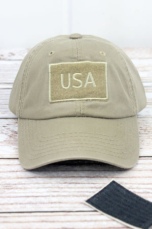 Khaki Detachable USA Flag Patch Cap