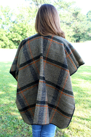 Alaskan Autumn Wool Cape, Olive