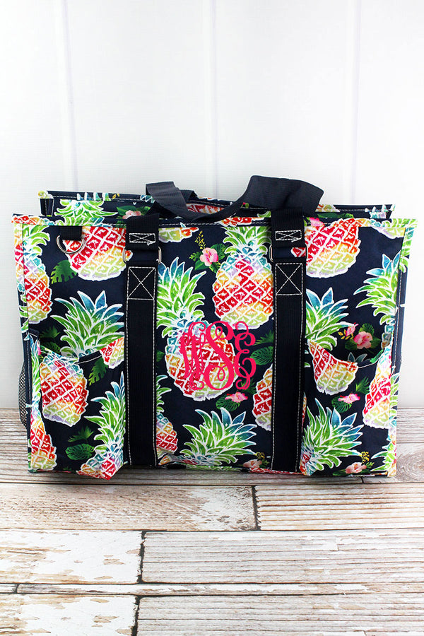 Rainbow Pineapple with Navy Trim Large Organizer Tote