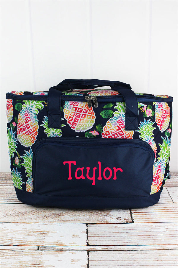 Rainbow Pineapple and Navy Cooler Tote with Lid