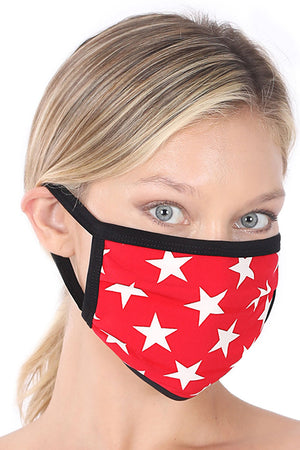 Ruby and Ivory Star Two-Layer Pleated Fashion Face Mask