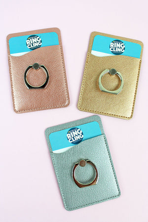 One Metallic Ring Cling Cardholder - SHIPS ASSORTED