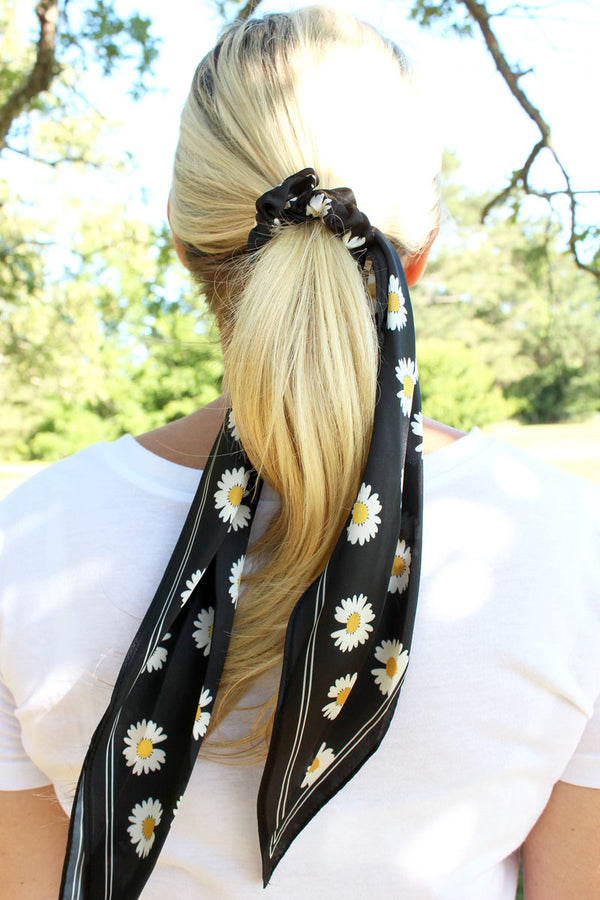 Daisy Delight Black Satin Ponytail Scarf