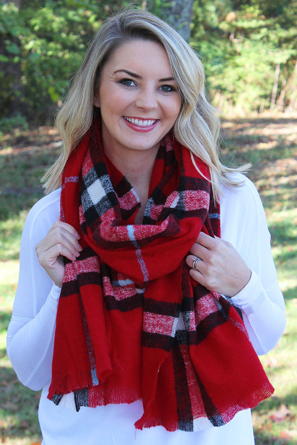 Mountain Bonfire Scarf, Red
