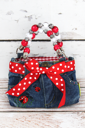 Ladybug Baby Denim Jeans Box Bag with Beaded Handles