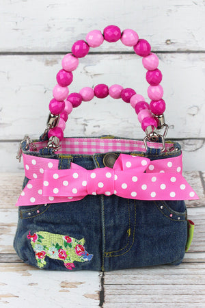 Floral Pig Baby Denim Jeans Box Bag with Beaded Handles