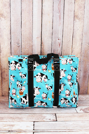 Udderly Cute Cows with Black Trim Large Organizer Tote