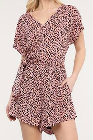 Blush Leopard Short Sleeve Wrap Romper with Pockets