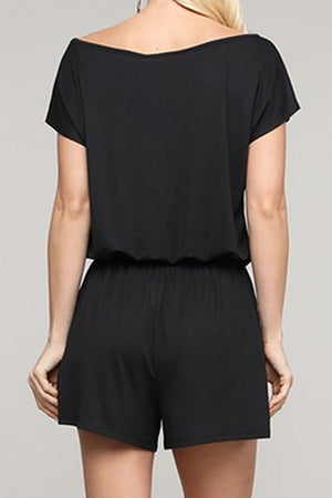 Black Off-Shoulder Romper with Pockets