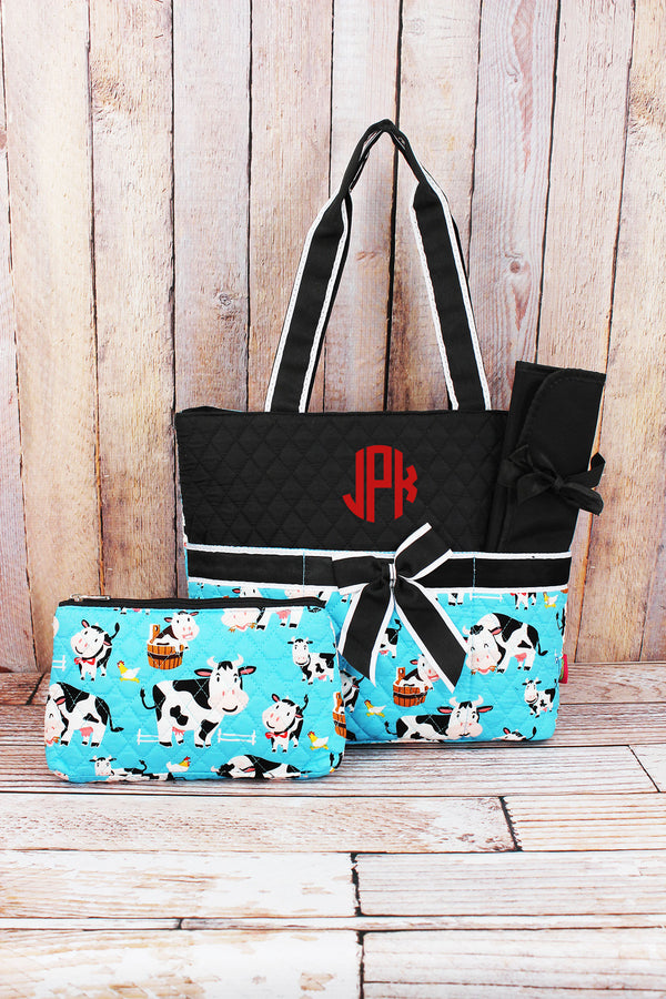 Udderly Cute Cows Quilted Diaper Bag with Black Trim