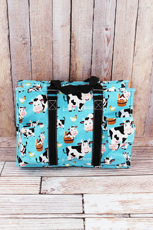 Udderly Cute Cows Utility Tote with Black Trim