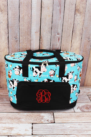 Udderly Cute Cows and Black Cooler Tote with Lid