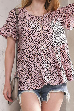 Plus Size Blossom Leopard Ruffled Top