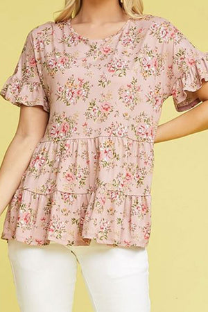 Plus Size Mauve Floral Ruffled Top
