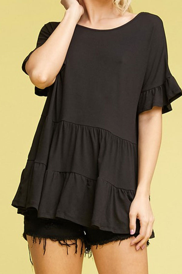 Plus Size Black Ruffled Top