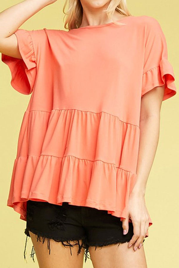 Plus Size Coral Ruffled Top