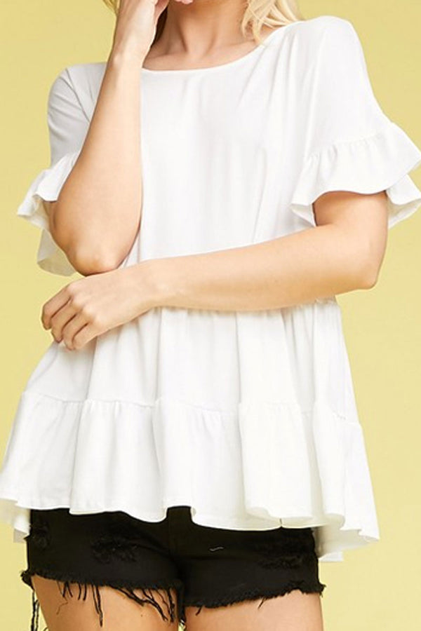 Off White Ruffled Top