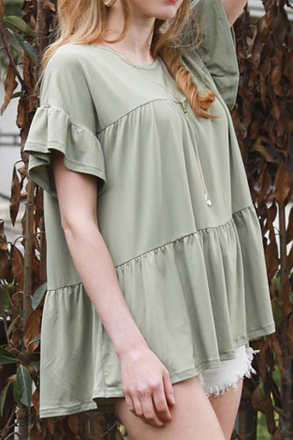 Dusty Sage Tiered Ruffle Sleeve Top