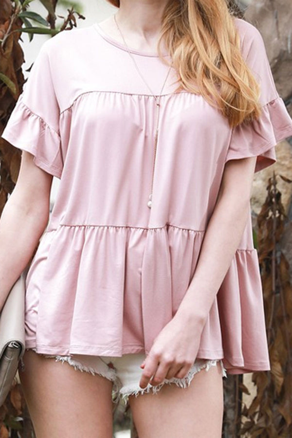 Light Mauve Tiered Ruffle Sleeve Top