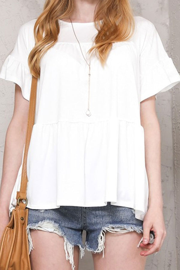 Off White Tiered Ruffle Sleeve Top