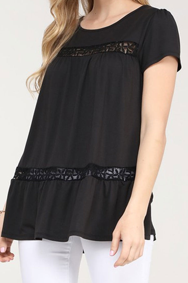 Black Floral Lace Short Sleeve Top