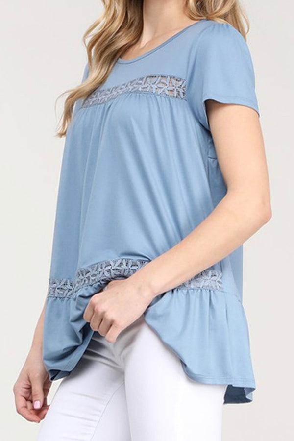 Denim Blue Floral Lace Short Sleeve Top