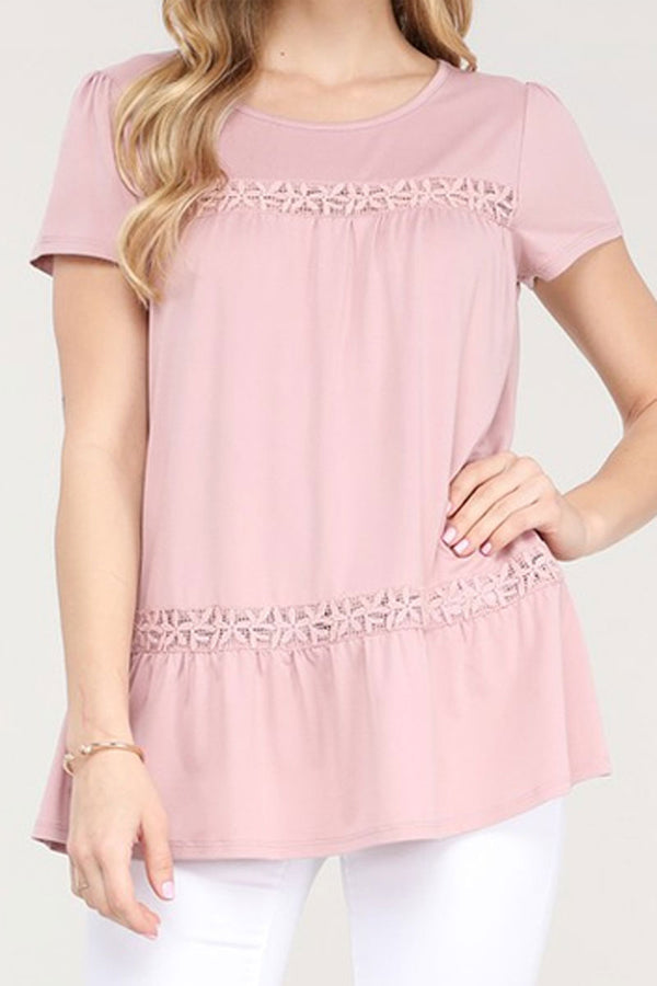 Light Mauve Floral Lace Short Sleeve Top